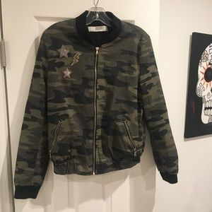 Zara camo cotton bomber jacket.